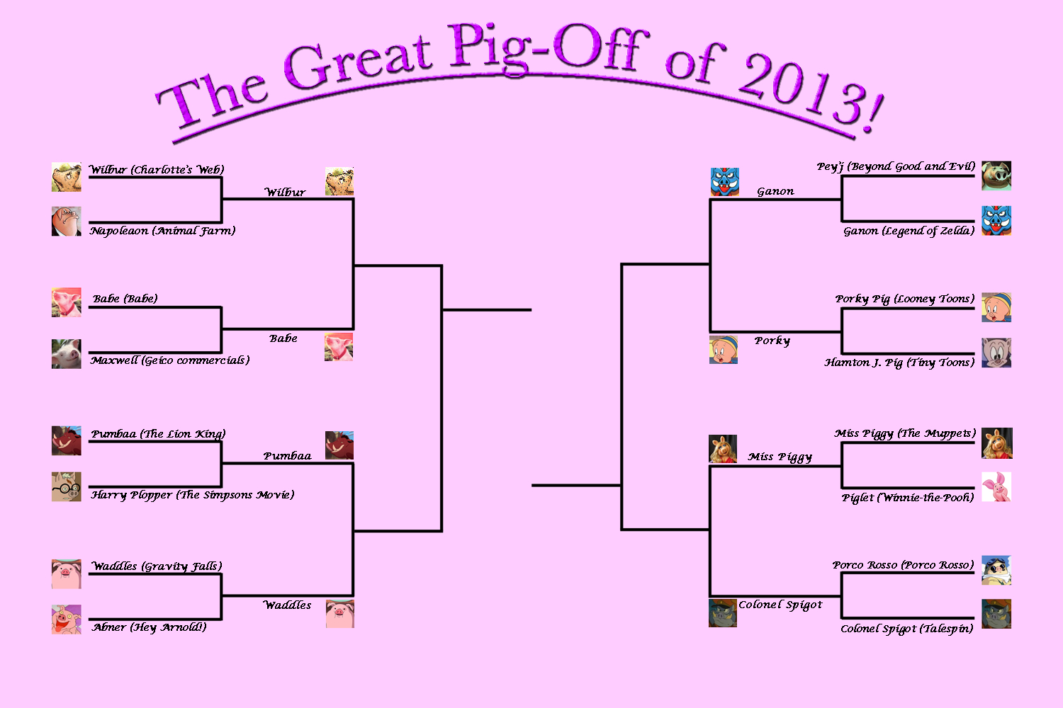 Round Two Pig-Off brackets